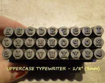TYPEWRITER Font - UPPERCASE steel letter stamps - 1/8 inch (3mm) size letters with an ampersand