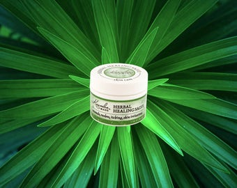 Organic Herbal Healing balm 98% certified organic & wild harvested ingredients relieves pain, irritation of the skin hand made