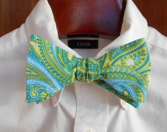 Bow Tie - Blue and Green Paisley - Men's self tie