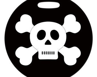 Luggage Tag - Skull and Crossbones - 2.5 inch or 4 Inch Round Plastic Bag Tag