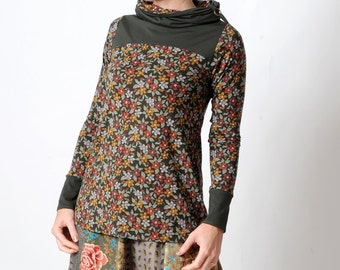 Floral jersey top, Khaki green floral top, long sleeve top, geometric print brown top, MALAM womens top