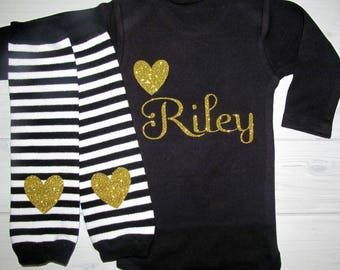 Baby Girl Coming Home Outfit Gold Glitter Heart Name Personalized Baby Shower Gift Baby White or Black Bodysuit Optional Striped Leg Warmers