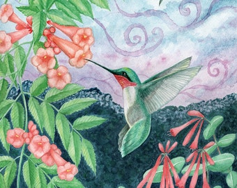 "POLLINATE: Ruby Throated Hummingbird. 8x10"" Matted Art Print (11x14)  Digital Print of Original Watercolor Painting by Victoria Chapman."
