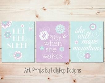 Girl Nursery Art Purple Aqua Mint Nursery Let Her Sleep Quote Girls Room Wall Art Baby Girl Nursery Prints Toddler Girls Room Art #1025