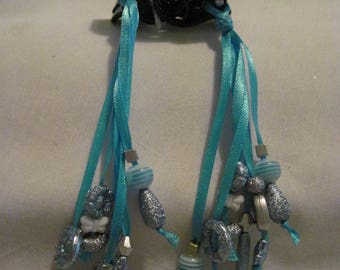 Hair Clips with Ribbons and Beads....set of 2....hand made...black/ Lt. Blue