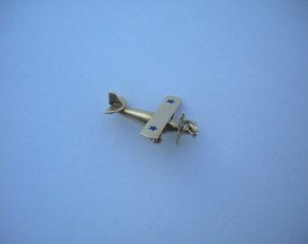 Original Extremely Rare 1927 Charles Lindbergh Spirit of St. Louis Airplane Love 14K Gold Charm !!