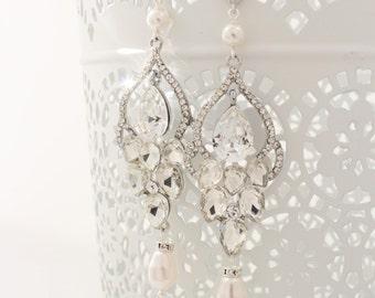 Long Bridal Chandelier Earrings Chandelier Wedding Earrings Crystal and Pearl Earrings Vintage Style Jewelry Crystal Statement Post Earrings