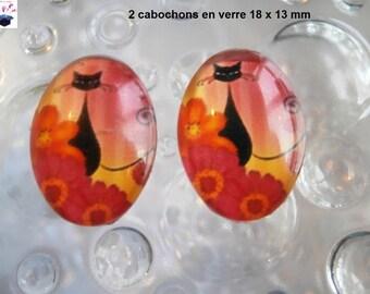 2 cabochons glass 18mm x 13mm margueritte cat themed orange