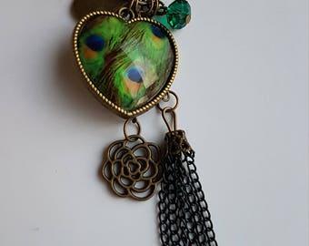 Pompon vert paon pull longueur Collier coeur - jeu, marqué vers le bas, spécial, rabais, vente