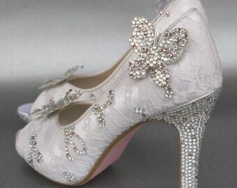Custom Wedding Shoes, Wedding Shoes, Lace Wedding Shoes, Butterfly Wedding, Crystal Wedding Shoes, Ivory Wedding Shoes, Bridal Heels, Custom