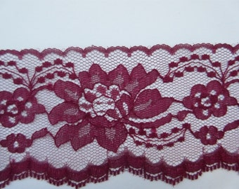 """Burgundy Lace Trim Ribbon 3"""" inch wide Red Floral Lace Flower Design Baby Shower Sewing Wedding Bridal Gift Wrap Gift Basket Home Decor WL44"""