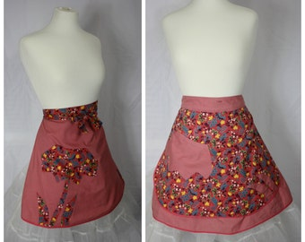 Country Cutie | Vintage Handmade REVERSIBLE Pink Floral Cotton Half Apron | One Size