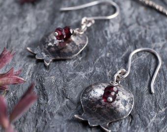 Pomegranate Earrings in Sterling Silver, Bat Mitzvah Gift Judaica Jewelry, Gift For teens Gift For Women, Gift For Girls, Garnet Earrings