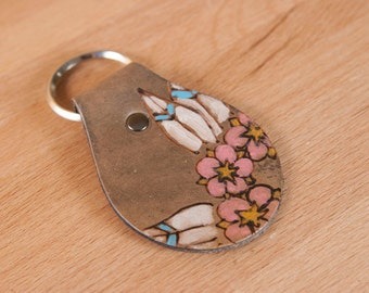 Leather Key Chain - Key Chain - Flower Key Chain - Handmade Leather - Key Chain in the Dakota pattern with flowers and leaves