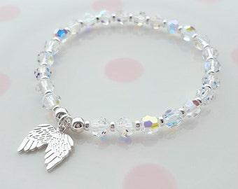 Sterling Silver Bead Bracelet, Silver Bead Bracelet, Bead Bracelet, Angel Wing Bracelet, Angel Bracelet, Angel, Swarovski Crystal Bracelet