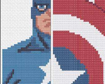 Captain America- Marvel Superhero- Cross Stitch Bookmark Pattern