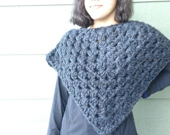 Grey Poncho, Crocheted accessories, gift for Mom, gift for teen, winter wraps, chic crochet poncho, ready to ship