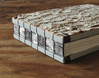 rustic wedding guest book or journal - birch bark cabin guest book - gray natural woodland  unique wedding anniversary gift ready to ship