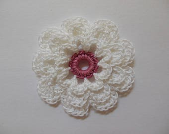Crocheted Flower - White and Dusty Mauve - Cotton Flower - Crocheted Flower Applique - Crocheted Flower Embellishment