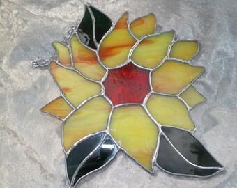 Sunflower, Stained Glass, Sun Catcher, Hand Made, Custom Made