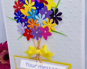 3D Bouquet of Flowers Thank You Teacher Childminder Child Carer Staff Appreciation Card Any Occasion Handmade
