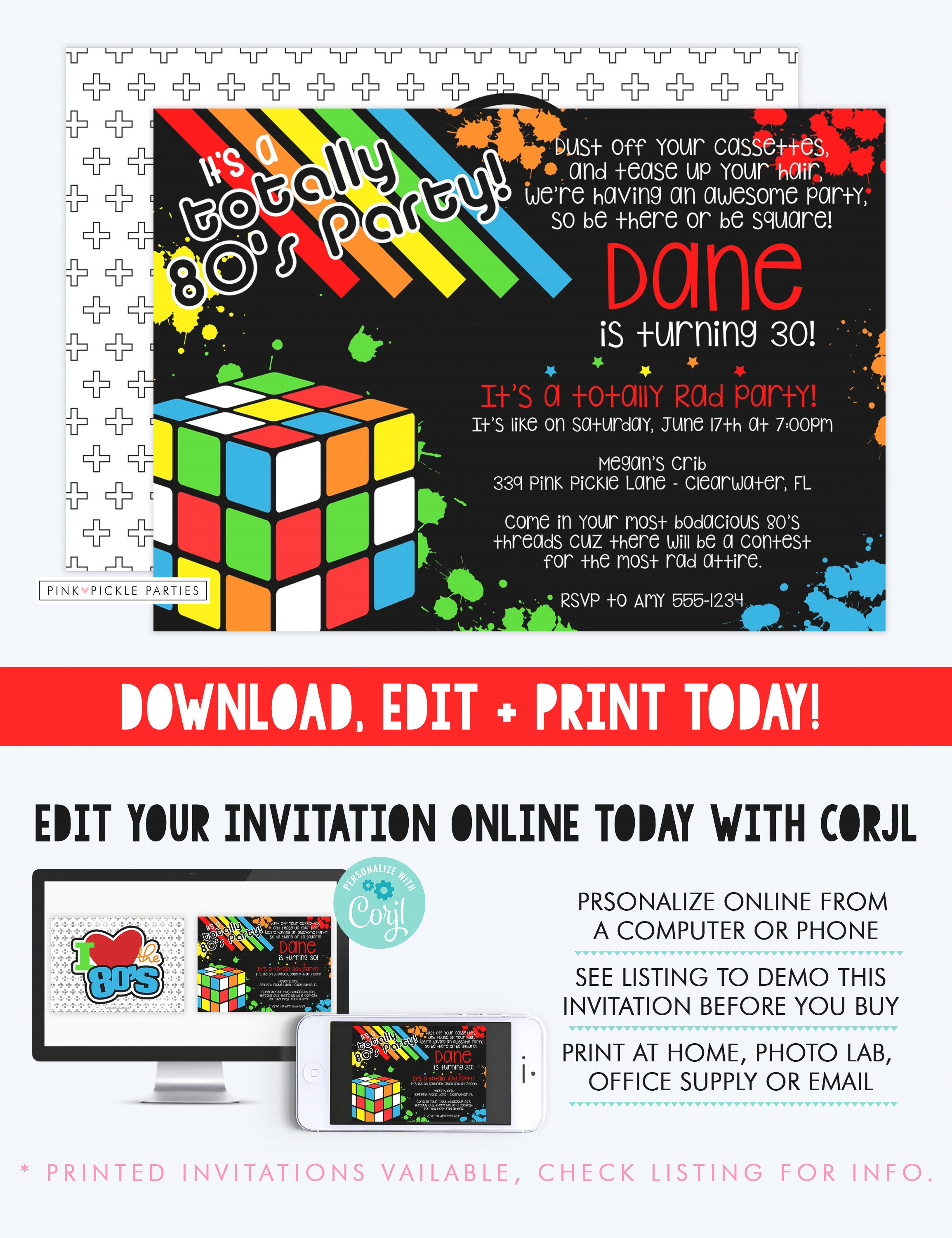 Awesome 80s Theme Birthday Invitations Image - Invitations and ...