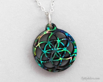 Flower of Life Necklace Small — Abalone, Sacred Geometry, Seed of Life Gift, Spiritual Jewelry, Spiritual Gifts, Seed of Life Jewellery