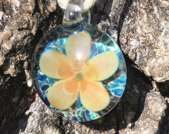 Handmade flower glass pendant, floral pendant, heady flower pendant, handblown glass pendant, boro glass pendant, flower necklace, spring