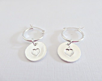 Silver heart earrings, Fine silver earrings, Dangle earrings, Heart charm earrings, Silver hoop earrings, Pretty heart earrings, Made in UK