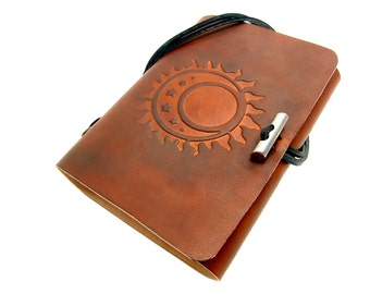 Leather book  - soft OX Sun, Moon & Stars Lion - A6 - 400 pages - diary of Vicky's World