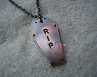 RIP Coffin Necklace #5  Goth Jewelry  Goth Necklace  Day of the Dollies