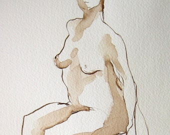 Figure Study, Natalie Seated, Walnut Ink on Paper 9x6,   Michelle Paine, Nude Female Seated, Line Art, Line Drawing, Pen and Ink Art