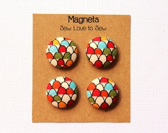 Fabric Covered Button Magnets / Colorful Hills Magnets / Strong Magnets / Refrigerator Magnets / Fridge Magnets