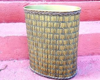 Vintage JL Clark Woven Raffia Metal Wastebasket