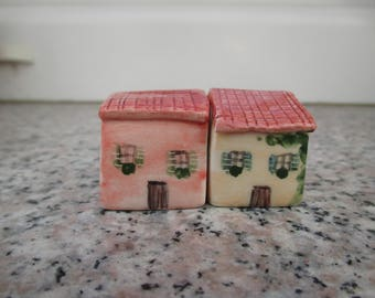 2 Small clay Houses,Tiny Ceramic Mediterranean House,Little Pottery House,Orange,Red,Tuscan House,Rustic,Colorful house,Pottery village