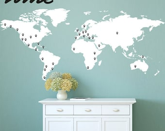 Map and pins sticker etsy world map wall decal with 60 marking pins world map decal large a0037 gumiabroncs Image collections