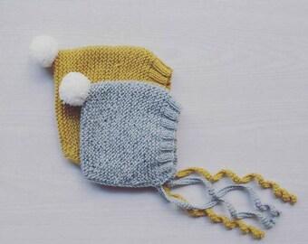 pixie pompom hat - cotton merino baby hat - handmade knits - knitted babt hat - baby boy pixie hat - baby girl pixie hat - newborn pixie hat