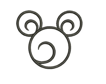 21 Sizes Swirl Swirly Scroll Disney Mickey Mouse Head Ears Applique Design Embroidery Machine Instant Download Digital File EN4042E1