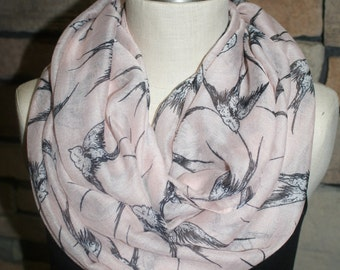 Pink Swallow Bird Infinity Scarf Swallow Bird Print Scarf Fashion Flying Bird Print Scarf in Pink-Womens Accessories