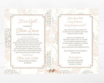 Long Distance Baby Shower Invitation   Virtual Baby Shower Invitation    Itu0027s A Girl Baby Shower