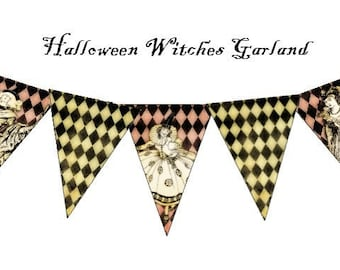 Halloween Witches Digital Collage Sheet Garland 3x4.5 Printable Party Supplies banner pennant flags decoration bunting UPrint 300jpg