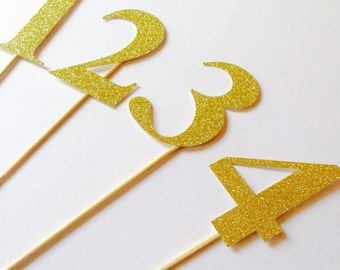 Large gold glitter table numbers, wedding tables, event tables, wedding decorations