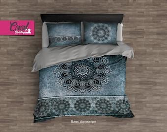 Cool Mandala Bedding Set, Boho Style Duvet Cover, Boho Chic Bed Sheets, Duvet Cover Queen, King, Full 34