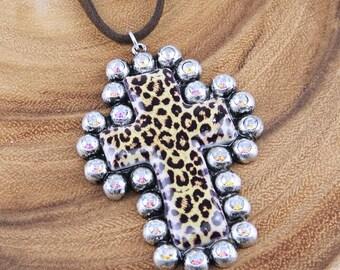 Cowgirl Western Cross Rhinestone Crystal Leopard Necklace