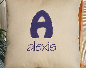 Custom Throw Pillow, Monogrammed Pillow , Name Pillow, Khaki Pillow, Personalized Pillow, Initial Pillow