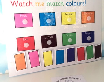 Learn colours, Matching colours, Nursery, EYFS, pre-school, learn colors, Home education, Early learning, Teaching resource