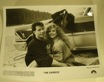 Autographed Photo John Travolta The Experts Movie Set 1989 Co Star Kelly Preston Original Paramount Studios Handout Signed Picture