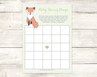baby shower bingo game card printable fox DIY green grey woodland animal fox bingo card cute baby shower digital games - INSTANT DOWNLOAD