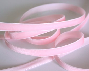 """3/8"""" Velvet Ribbon in Light Pink - 5 yards"""