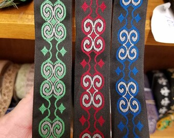 Celtic color Scrolls 1 inch wide sold by the yard